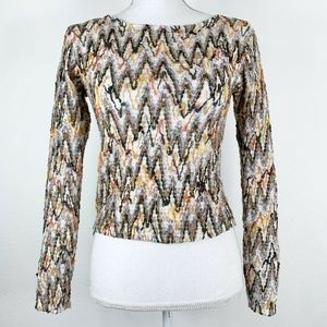 Womens Small Blouse Textured Knit Cropped